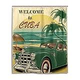 JSTEL Cortina de Ducha de 60 x 72 Pulgadas, diseño Vintage de Nostalgia para Viajes, Color Verde, a Prueba de Moho, Tela de poliéster