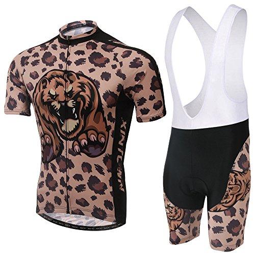 TeyxoCo Herren Cheetah Wild Radsport Bekleidung Gel Pad Bid Jersey Set (Cheetah Kostüm Mädchen)