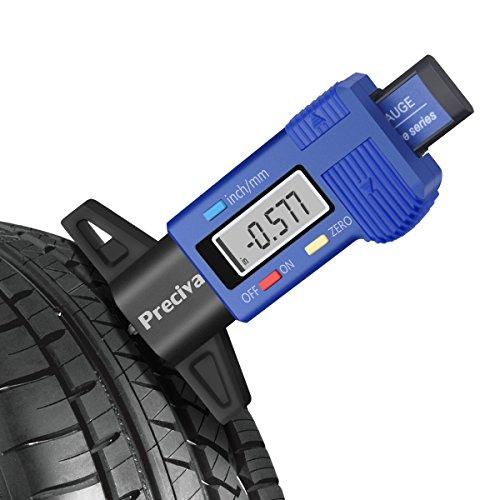 Preciva Reifen Profiltiefenmesser Reifenprofilmesser Auto Tiefenmesser Motorrad Profilmesser Messchieber LCD Display mit Ersatzbatterie, 0 - 25 mm