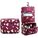 House Of Quirk Portable Toiletry Bag Make Up Storage Pouch Travel Organizer With Large Capacity (Floral Maroon)