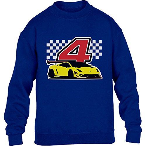 Geschenk für Jungs 4 Geburtstag mit Auto Kinder Pullover Sweatshirt XS 110/116 Blau -