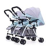 Guo@ Zwillings-Baby-Spaziergänger, doppelte Säuglingslaufkatze abnehmbarer umschaltender leichter faltbarer Kinderwagen-Druck-Griff justierbar (Farbe : Blue+gray)