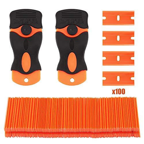 Supertool - Raschietto per rasoio, 100 pezzi, per fai da te, in plastica, con doppia lama + 2 raschietti per rimozio