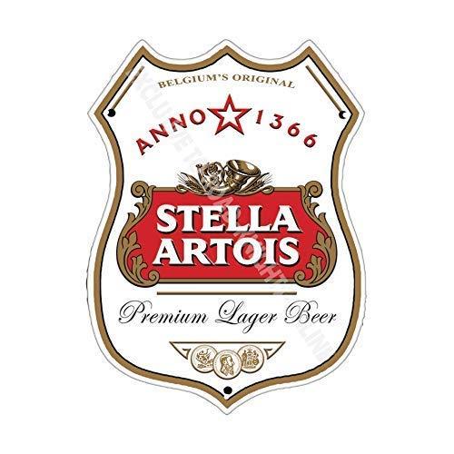 Stella Artois Bière publicité Barre Ancienne Bar pub Boissons Pump Badge Brewery Tonneau Keg Tirant Real Ale Pinte Alcool Houblon Forme Métal/Panneau Mural Métalique - 27 x 20 cm