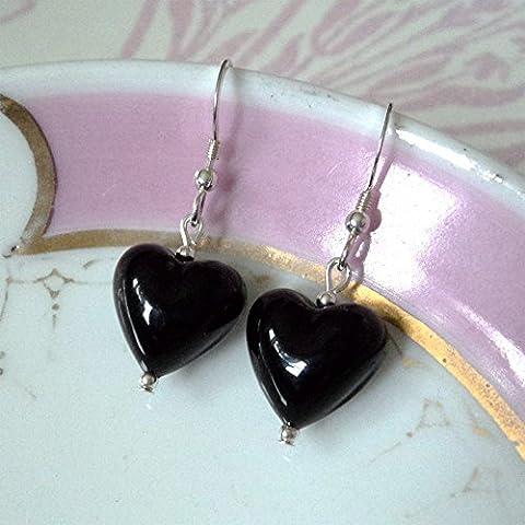 Diana Ingram black gloss pastel Murano glass small heart (13mm)