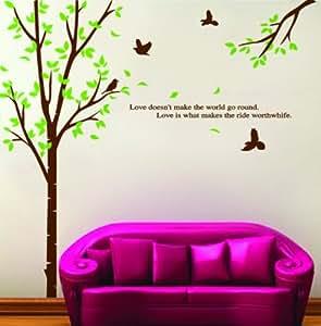 Bricolage Décoration murale amovible arbre Autocollant Autocollants printemps et les oiseaux avec un MicroDeal® Piece chiffon de nettoyage marques par ordre