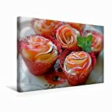 Premium Textil-Leinwand 45 cm x 30 cm quer Köstliche Apfelrosen - Rote Äpfel im knusprigen Blätterteig | Wandbild, Bild auf Keilrahmen, Fertigbild auf echter Leinwand, Leinwanddruck