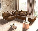 DELIFE Couch Clovis modular - Ecksofa, Sofa, Wohnlandschaft & Modulsofa (Braun, Ecksofa Rechts mit Hocker)