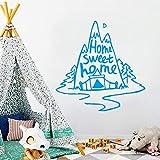 yiyiyaya Mountain Decal Vinilo extraíble Mural Poster para Habitaciones de niños Decoración Pared Azul 57cm X 57cm