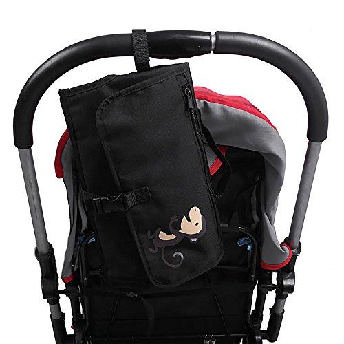MMRM Portátil impermeable hoja infantil bebé cambiador de pañales de cojín de almohadilla de gran tamaño color negro