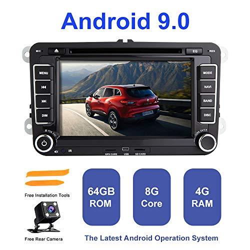 Android Autoradio Stereo, ZLTOOPAI für VW Seat Skoda Doppel Din Head Unit Android 9,0 Octa Core 4G RAM 64G ROM 7 Zoll Kapazitiver HD Multi-Touchscreen Auto Stereo GPS Radio Mit Freier Rückfahrkamera