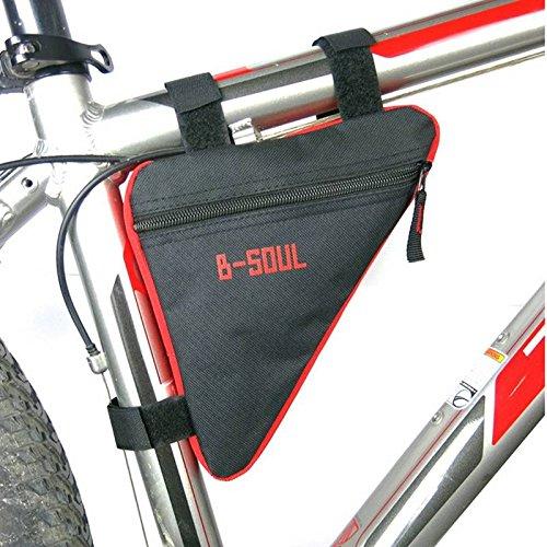 Fahrradtasche für Herrenfahrrad Ecke Klettverschluss 3-eckig versch. Farben Schwarz-Rot