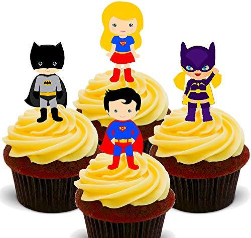 Supergirl Kostüm Bilder - Superhelden Jungen und Mädchen – Essbare Cupcake Topper – Stand-Up Waffel Kuchen Dekorationen, 24er-Pack
