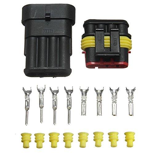 Preisvergleich Produktbild Stromkabel-Anschluss, 5Sets, 4-polig, AMP, wasserdicht, Stecker für KFZ