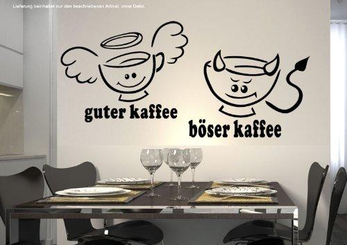 Preisvergleich Produktbild WandTattoo KÜCHE CAFE COFFEE guter Kaffee böserKaffee 30 Farben 7 Größen zur Wahl wkf34(070 schwarz, Größe 2:ca.30 x 17 cm)