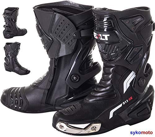 VIPER RIDER Stivali Moto Uomo Impermeabile RINFORZATI Pista Strada Stivali da Corsa in Pelle Traspirante Nero (EU 43)
