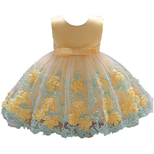 LHWY Prinzessin Kleid Mädchen für Hochzeit Kinder Blume Baby Mädchen Tutu Kleid Print Ärmellos Spitze Formelle Kleidung Sommerkleid