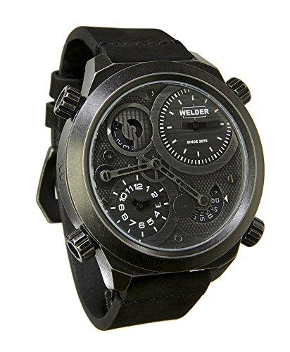 Welder K50-401 Herren Armbanduhr, Chronograph, Lederband und Zifferblatt, Schwarz