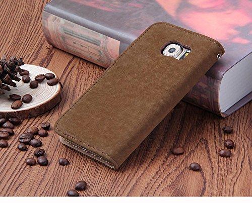 POEGO Handy Hülle Cover Case Schutzhülle Schutz Hülle mit Kartenfach Magnetverschluss Standfunktion (iPhone 7, Weiß) Dunkelbraun