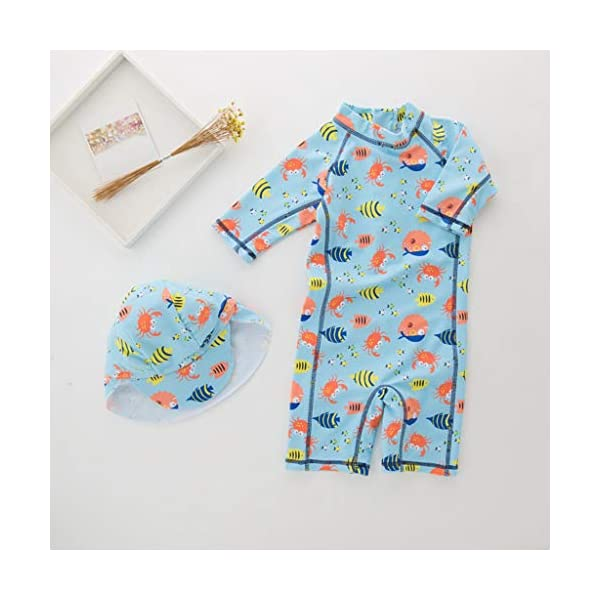 QIAODOUMADAI Summer Baby Boy Traje de baño + Sombrero 2 Unids Set Peces Mundo Marino Traje de baño Infant Toddler Kids… 3