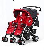 HAIZHEN Kinderwagen Zwillinge Transportwagen klappbarer Zwei-Wege-Sitzen und Liegen