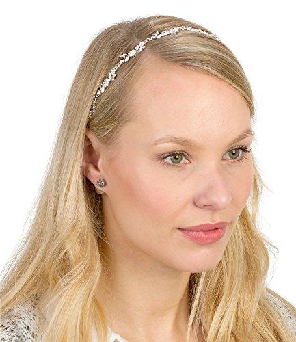 SIX Hochzeits Schmuck, elastische Haarkette mit silberner Blumen-Ranke und Strass (252-862)