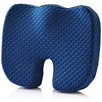 DXP care 45 * 35 * 8 cm Cojín Ergonómica ortopédica para coxis, aliva el Dolor Espalda,Cola ciatico, etc. Ideal para Silla de Oficina, Asiento del Coche, Silla de Ruedas (Azul Marino)