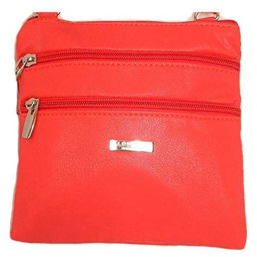 Lorenz Piccolo PU Pelle Doppia sezione Bag – Borsa a tracolla Borsetta, BRIGHT RED (multicolore) - 5860 BRIGHT RED