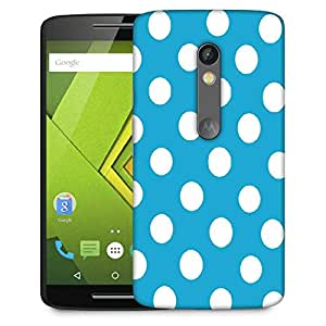Snoogg Blue Polka Dot Designer Protective Phone Back Case Cover For Moto G 3rd Generation