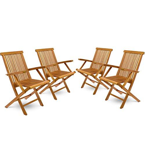 DIVERO 4er-Set Klappstuhl Teakstuhl Gartenstuhl Teak Holz Stuhl mit Armlehne für Terrasse Balkon Wintergarten witterungsbeständig behandelt massiv klappbar natur - Indoor-teak-bank