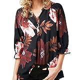 iYmitz Damen Blumendruck Drei Viertel Sleeve Button Bluse Pullover Tops Shirt(Schwarz,3XL)