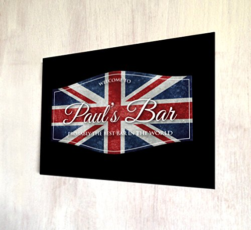 personalisierbar Union Jack Flagge Label A4Metall Schild Art Wand (Union Vintage Label)