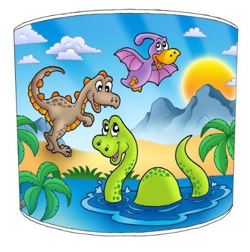 Premier Lampshades–Pantalla de mesa feliz Dinosaurios para niños lámpara, 30,5 cm