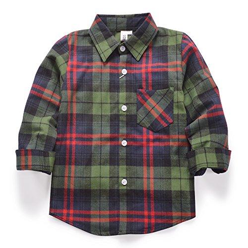 Ochenta - camicia casual - maniche lunghe - a quadri flanella - ragazzo e024 green red tag 130cm - 7-8 anni