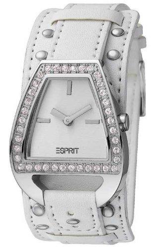 Esprit ES900062004 Top Sight White Ladies Watch Quartz Analogue White Dial White Leather Strap