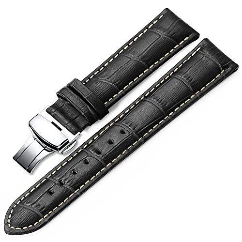 iStrap 20mm Echt Rindleder Uhrenarmbänder Armband Watch Strap mit Schließen Klapp-Verschluss Shwarz Gerben Naht