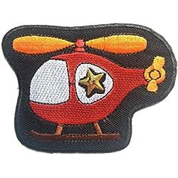 Toppe termoadesive - elicottero bambini - rosso - 8x6.2cm - Patch Toppa ricamate Applicazioni Ricamata da cucire adesive