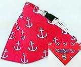 Hundehalstuch als Halsband optional mit Wunsch Namen bestickt Maritim rot Halstuch Tuch