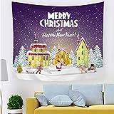 SZFYZCY Tapisserie Weihnachten Muster-Druck-Tuff Stoff Dekoration-Raum-Weihnachtsmuster Druck Wandteppiche Hanging Cloth,D,200 * 150CMthickflannel