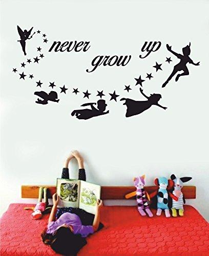 t-shirteria Adesivo murale - Wall Sticker - Peter Pan - Never Grow up - Dimensioni 30x59 cm