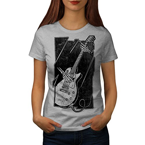 Wellcoda Schädel Musik Bass Gitarre Frau L T-Shirt