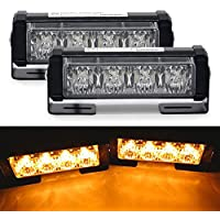 20W / set Mesllin Amber LED Flash Strobe Light 5 pulgadas Advertencia de peligro de emergencia Beacon Light Bar para Coche 2X 4 LED (Amber)