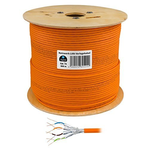 HB Digital Netzwerkkabel LAN Verlegekabel Cabel 500m cat 7 Kupfer S/FTP PIMF LSZH Halogenfrei orange RoHS-Compliant cat. 7 AWG 23/1 (500 Cat6-spule)