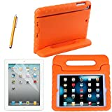 HDE iPad Mini Shock Proof Case Bundle for Kids Foam Bumper Cover Child Handle Stand + Stylus Screen Protector for Apple iPad Mini 1 Mini 2 Mini 3 Retina (Orange)