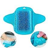 Fußbürste von DesignerBox, Badezimmer, Dusche, kein bücken, Fußbürste, Fußreinigung, Massagegerät, Bürste mit Saugnäpfen blau