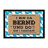 Geschenkbox Die bayerische Fußmatte do Bin i dahoam für den Mann mit Wunschnamen