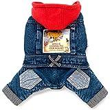 smalllee _ Lucky _ store Pet Klein Hund Katze Kleidung Fleece Denim Coat Jacke Jumpsuit mit Kapuze Kostüm