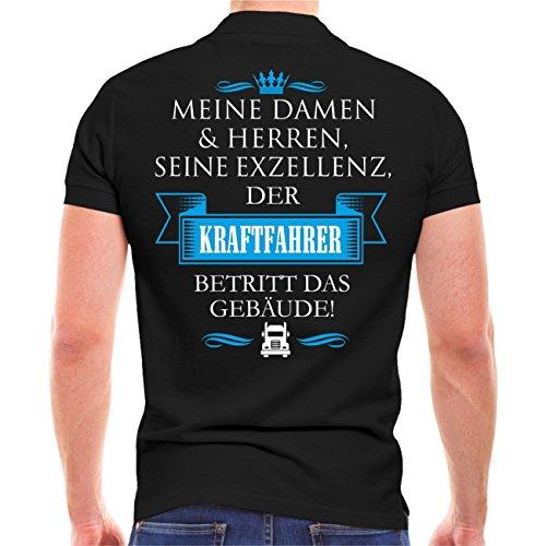 Männer und Herren POLO Shirt Seine Exzellenz DER KRAFTFAHRER (mit Rückendruck) Schwarz