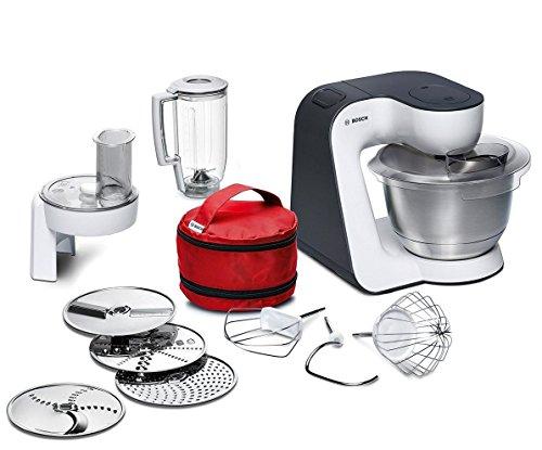 Bosch MUM52120 - Robot de cocina, negro y blanco, acero inoxidable, transparente