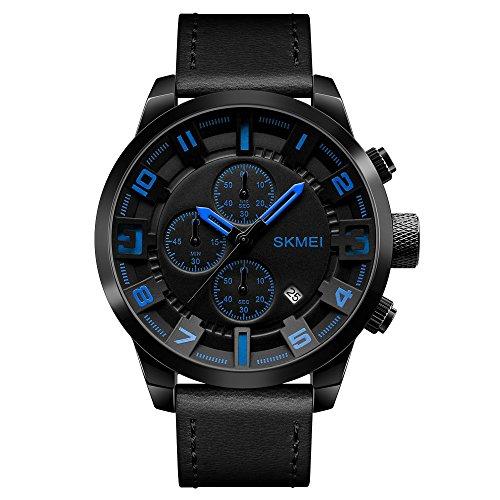 FXXUK Herren Sportuhr Armbanduhr Quarz 30 m Wasserdicht Kalender/Datum/Tag Stoppuhr Silikonband Analoguhr,Blue Blue Bubble Kleid